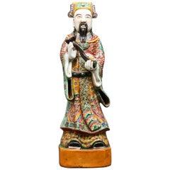 Chinese Tall Polychrome Ceramic Glazed Immortal Lu Figure