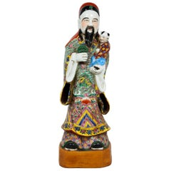 Chinese Tall Polychrome Glazed Ceramic Immortal Fu Figure
