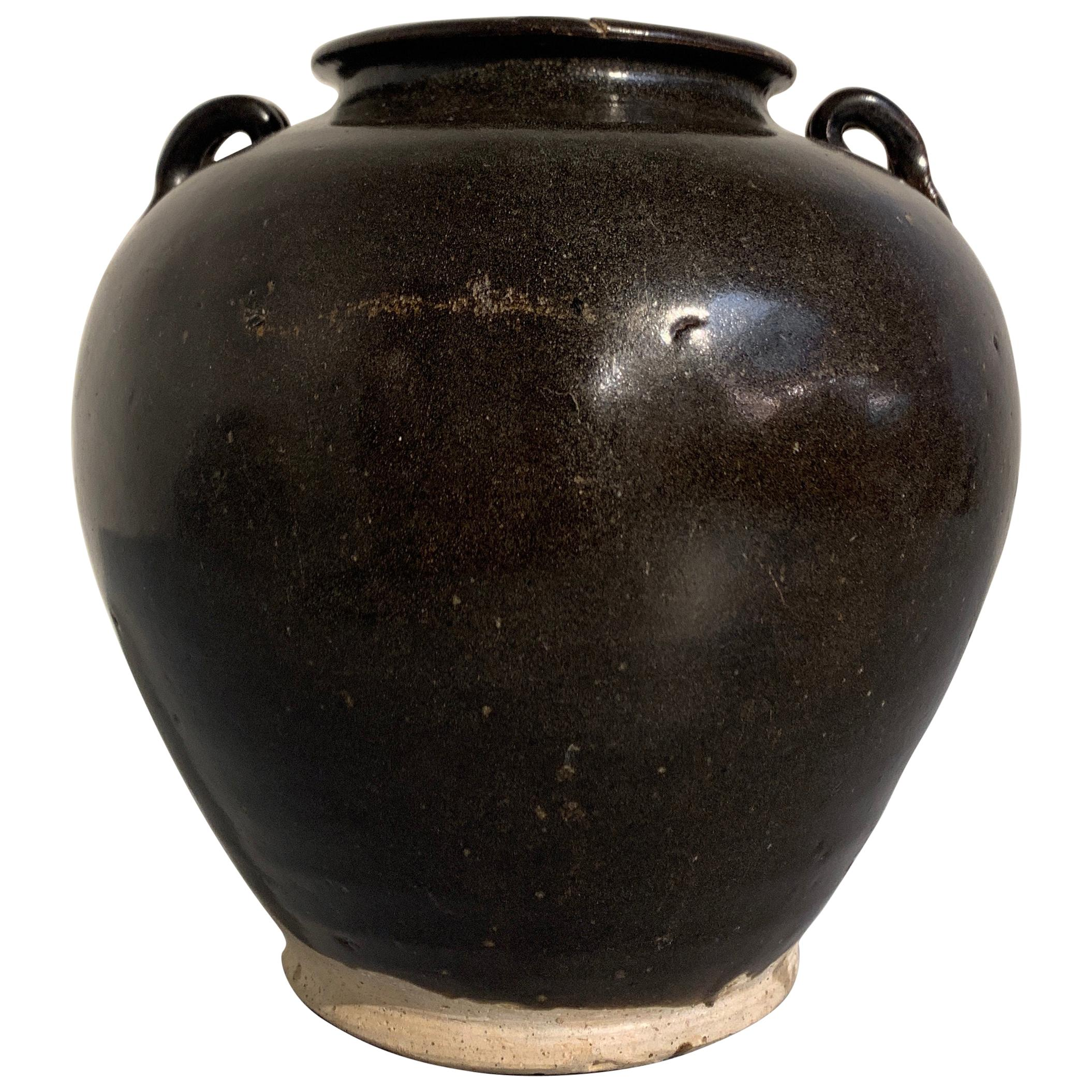 Chinese Tang Dynasty Brown Glazed Jar with Lug Handles, 9th-10th Century