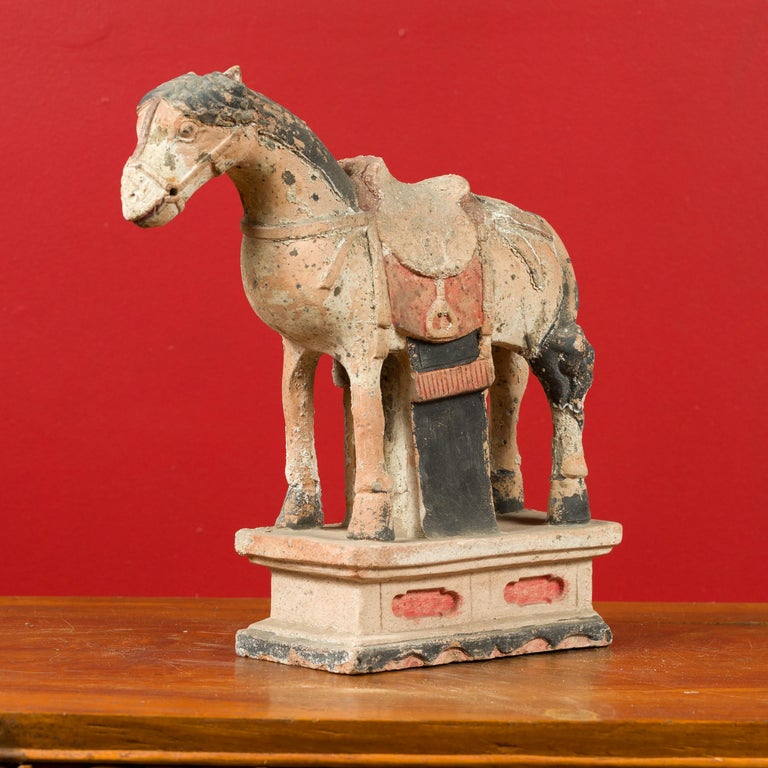 Pottery Chinese Tang Dynasty Horse Model circa 618-907 AD with Original Pigmentation For Sale