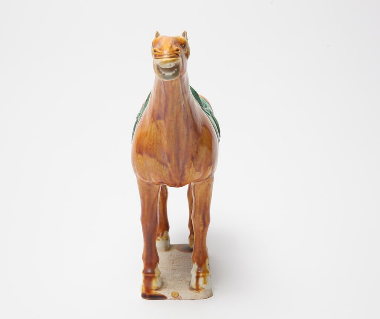 Chinese Tang Dynasty Style Glazed Ceramic Horse Figure In Good Condition For Sale In New York, NY
