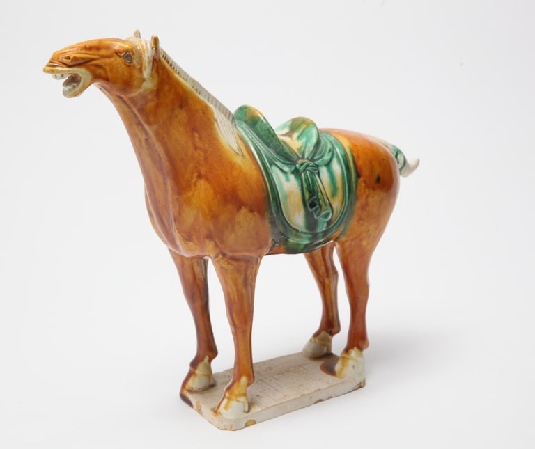20th Century Chinese Tang Dynasty Style Glazed Ceramic Horse Figure For Sale