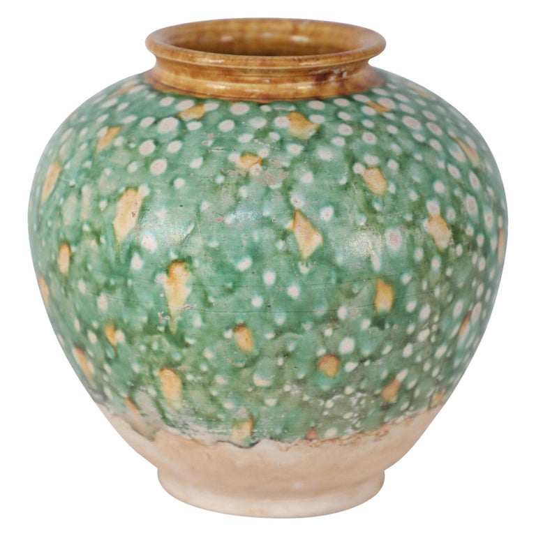 Chinese Tang Dynasty-Style Sancai Glazed Porcelain Vase For Sale