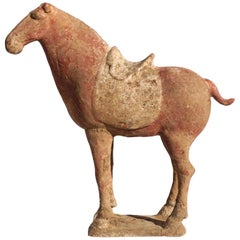 Chinese Tang Dynasty Terracotta Pottery Red War Horse