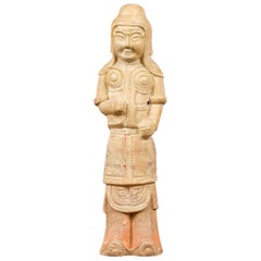 Chinese Tang Dynasty Terracotta Warrior with Straw Glaze, circa 600-800 AD