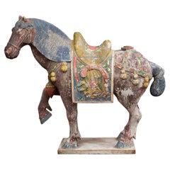 Chinese Tang Style Carved and Polychromed Horse