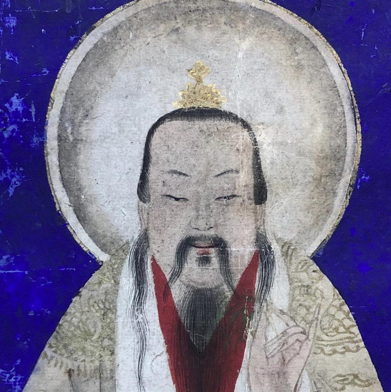 Hand-Painted Chinese Taoist Painting of Shangqing, Blue Background, 18th Century For Sale
