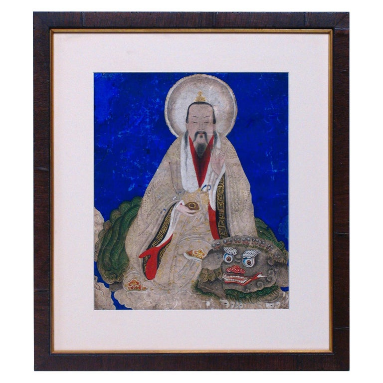Chinese Taoist Painting of Shangqing, Blue Background, 18th Century For Sale