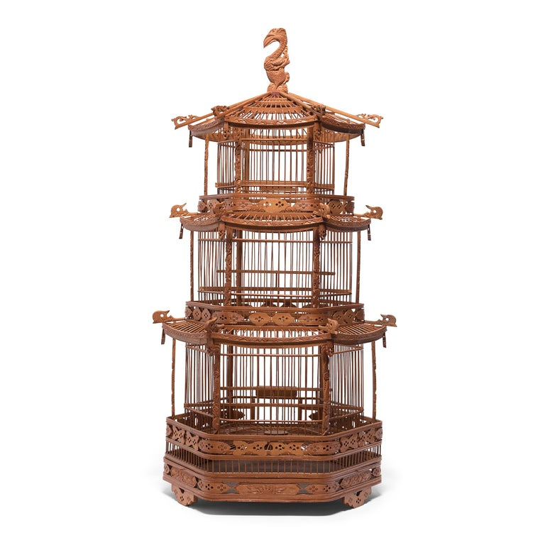 Carved Chinese Three-Tiered Pagoda Bird Cage, circa 1900 For Sale