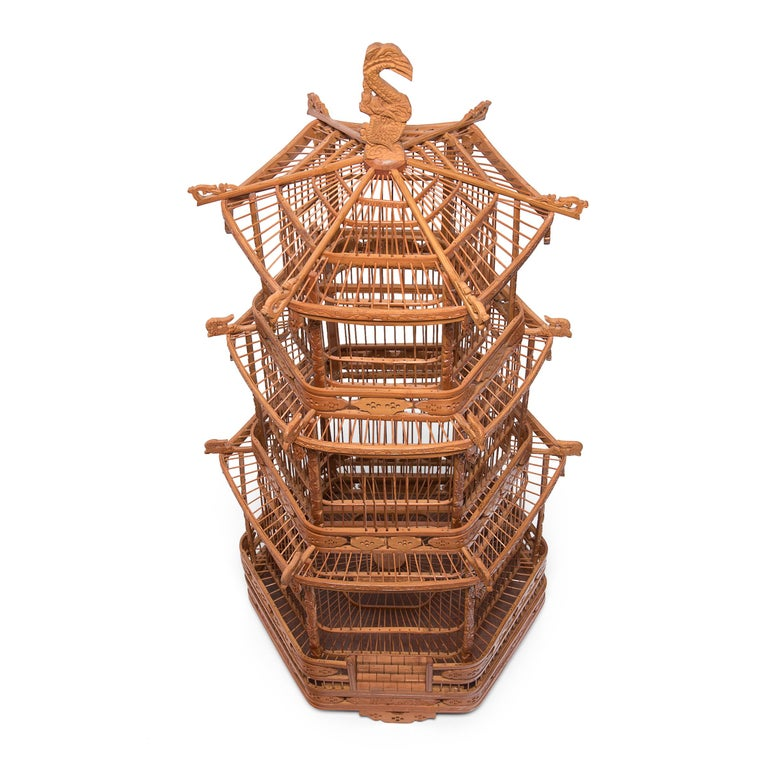 19th Century Chinese Three-Tiered Pagoda Bird Cage, circa 1900 For Sale