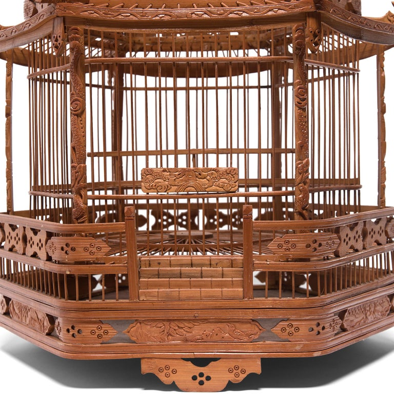 Bamboo Chinese Three-Tiered Pagoda Bird Cage, circa 1900 For Sale