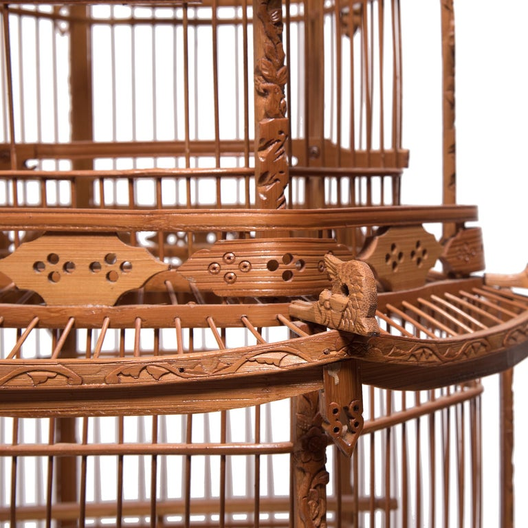 Chinese Three-Tiered Pagoda Bird Cage, circa 1900 For Sale 1
