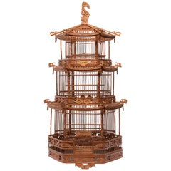 Chinese Three-Tiered Pagoda Bird Cage, circa 1900
