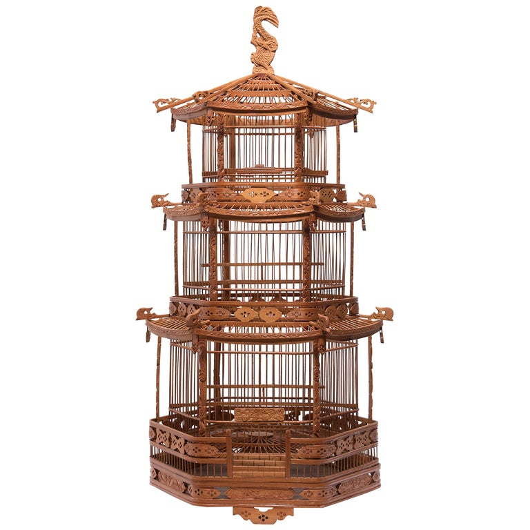 Chinese Three-Tiered Pagoda Bird Cage, circa 1900 For Sale