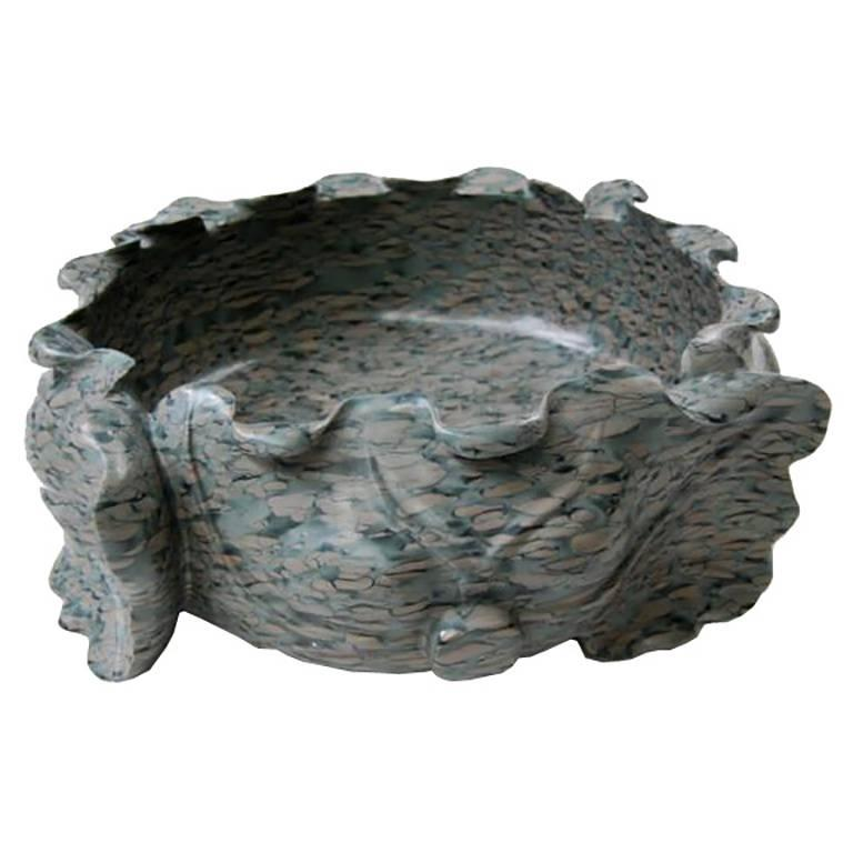 Chinese Tigerman Lotus Form Puddingstone Basin For Sale