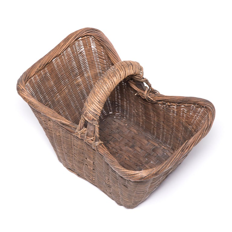 Rustic Chinese Twist Woven Market Basket For Sale
