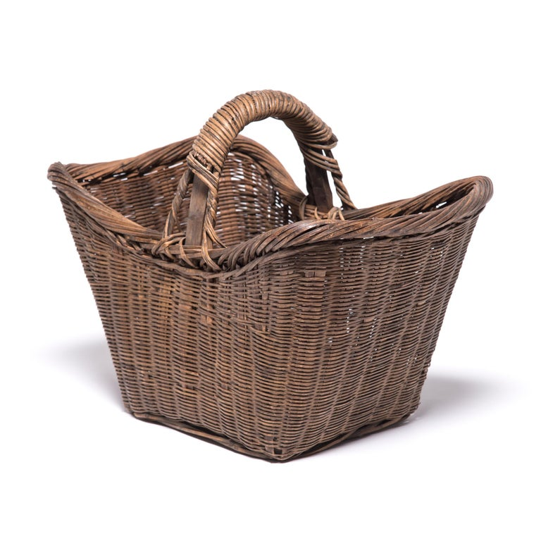 20th Century Chinese Twist Woven Market Basket For Sale