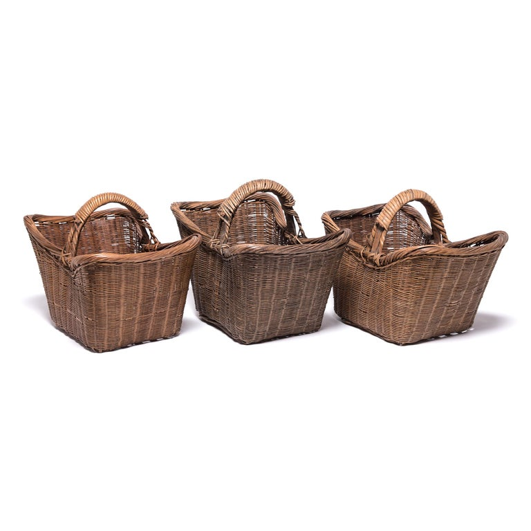 Willow Chinese Twist Woven Market Basket For Sale