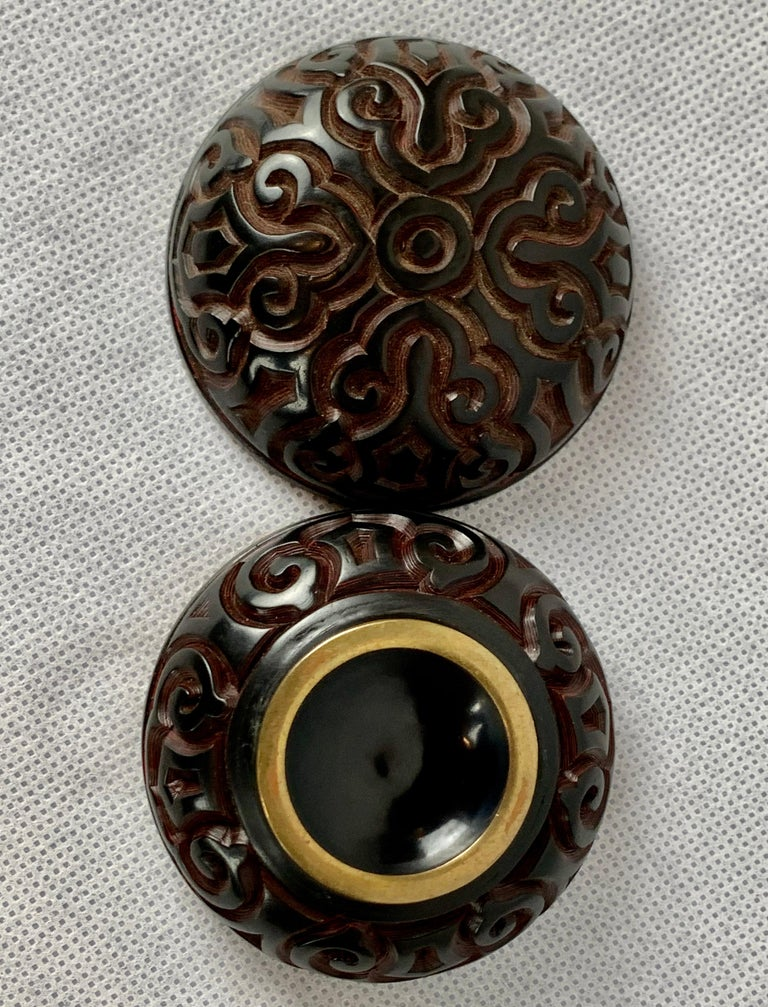 Brass  Chinese Two Color Tixi Cinnabar Round Box or Jar