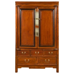 Chinese Two-Toned Cabinet with Doors and Five Drawers from the 20th Century
