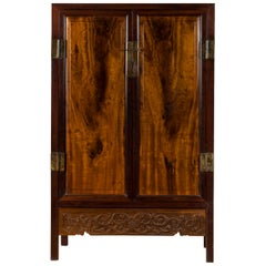 Chinese Two-Toned Early 20th Century Cabinet with Carved Apron and Inner Drawers
