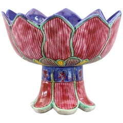 Chinese Unusual Porcelain Pedestal Lotus Flower Bowl