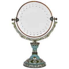 Chinese Vanity Mirror Adorned with Floral Cloisonné Enamel
