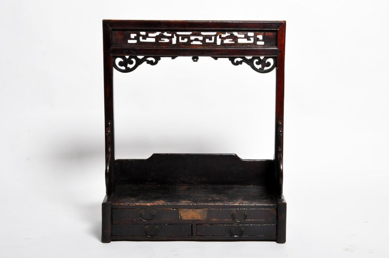 Wood Chinese Vanity Stand with Three Drawers For Sale