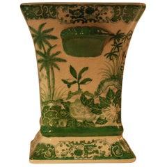 Chinese Vase, Floral Green Motif