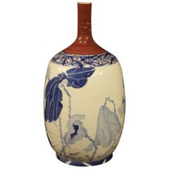 Chinese Vase in Painted Ceramic, 20th Century