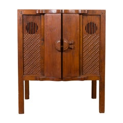 Chinese Vintage 1940s Wooden Cabinet with Two Doors and Carved Panels