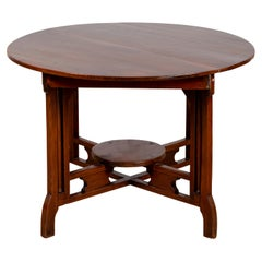 Chinese Vintage Art Deco Style Round Table with Brown Lacquer and Stretcher