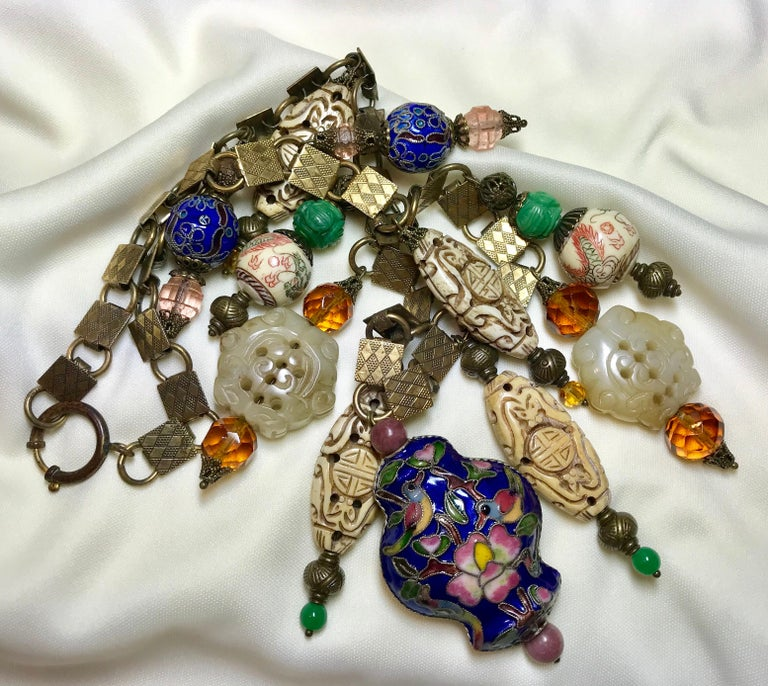 Chinese Vintage Bead and Book Chain Necklace For Sale 1