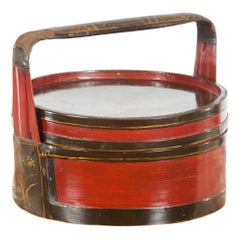 Chinese Vintage Black and Red Round Picnic Basket with Gilt Chinoiserie Décor