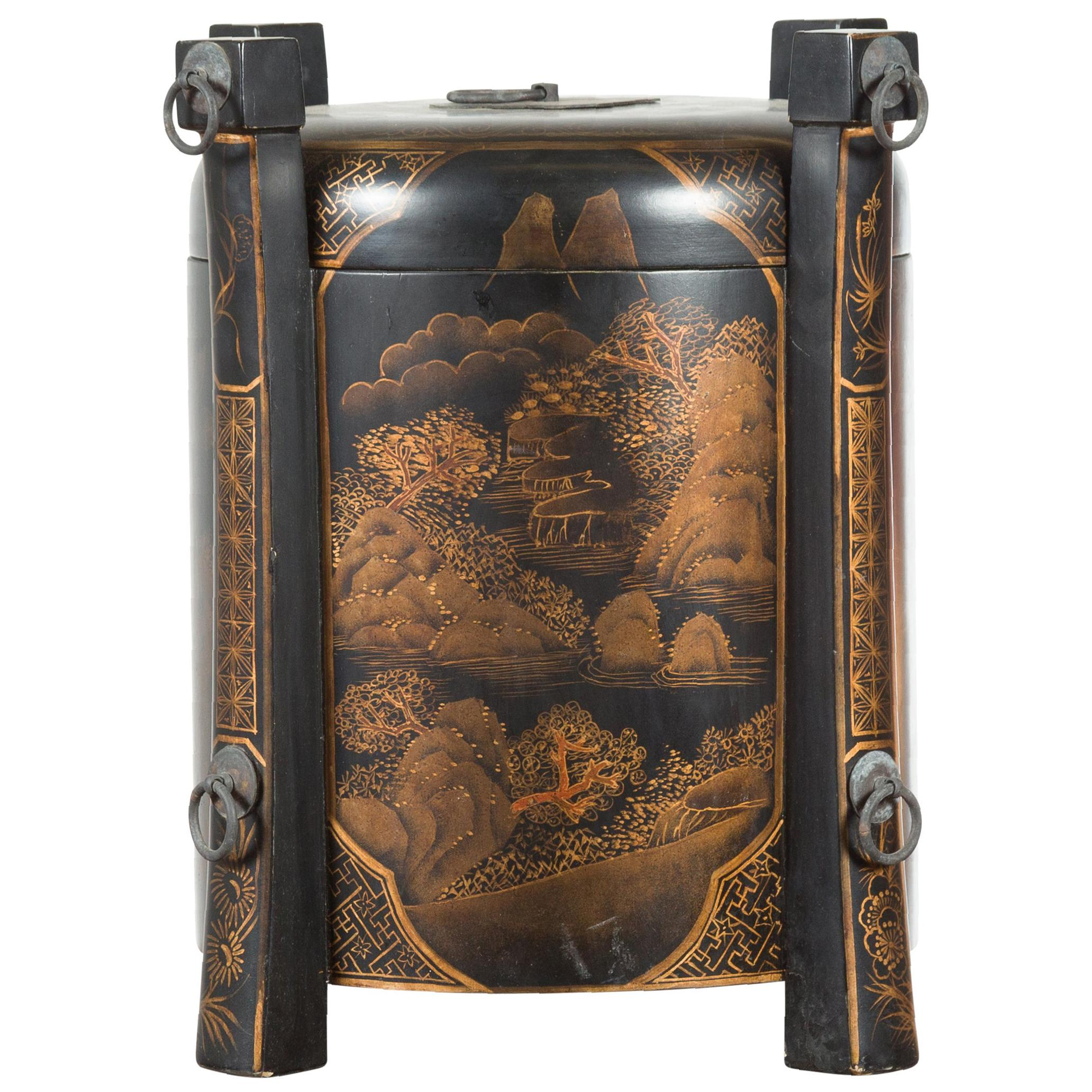 Chinese Vintage Black Lacquer Game Box with Gilded Traditional Landscape Scenes