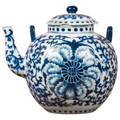 Chinese Vintage Blue and White Porcelain Teapot with Scrolling Foliage Decor