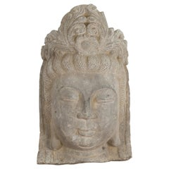 Chinese Vintage Carved Stone Bust of Guanyin, Bodhisattva of Compassion