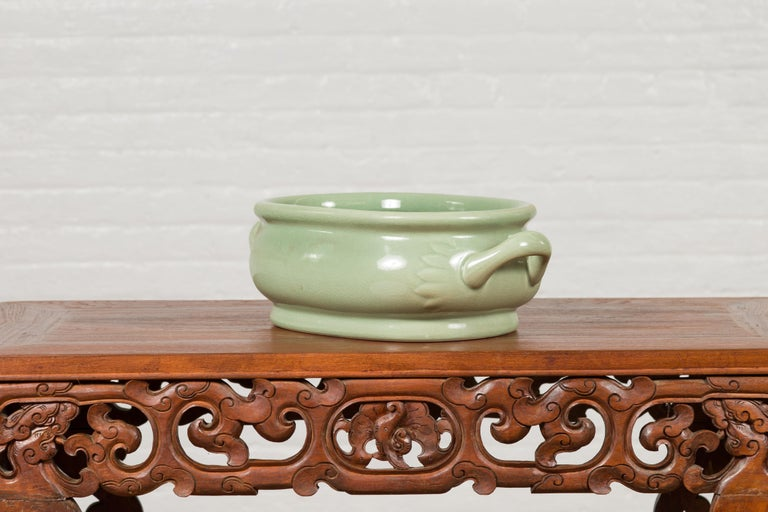 Chinese Vintage Celadon Foot Bath with Two Handles and Foliage Motifs For Sale 7