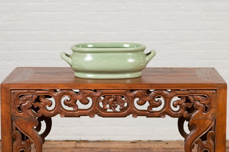 Chinese Vintage Celadon Foot Bath with Two Handles and Foliage Motifs For Sale 8