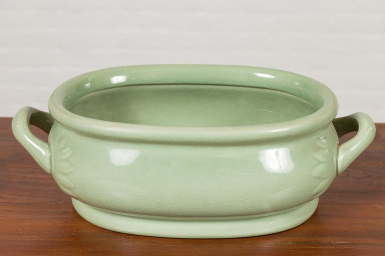 Chinese Vintage Celadon Foot Bath with Two Handles and Foliage Motifs For Sale 2