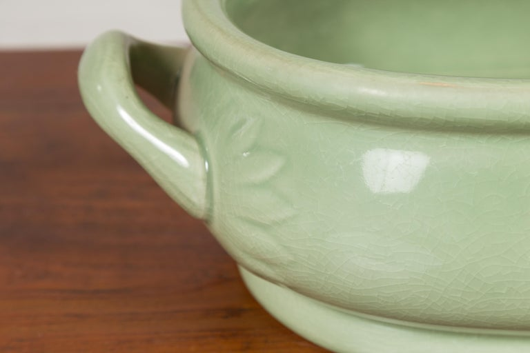 Chinese Vintage Celadon Foot Bath with Two Handles and Foliage Motifs For Sale 3