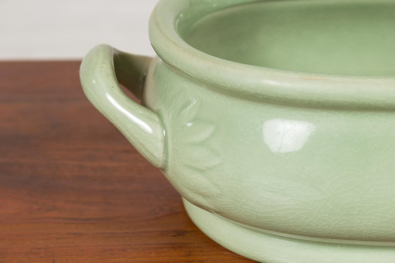Chinese Vintage Celadon Foot Bath with Two Handles and Foliage Motifs For Sale 4