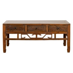 Chinese Vintage Coffee Table with Three Carved Drawers and Openwork Apron
