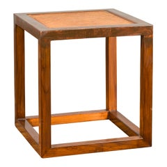 Chinese Vintage Cubic Side Table with Rattan Top, Straight Legs and Stretchers