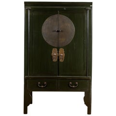 Chinese Vintage Dark Green Wedding Cabinet with Two Doors and Drawers, 1950s