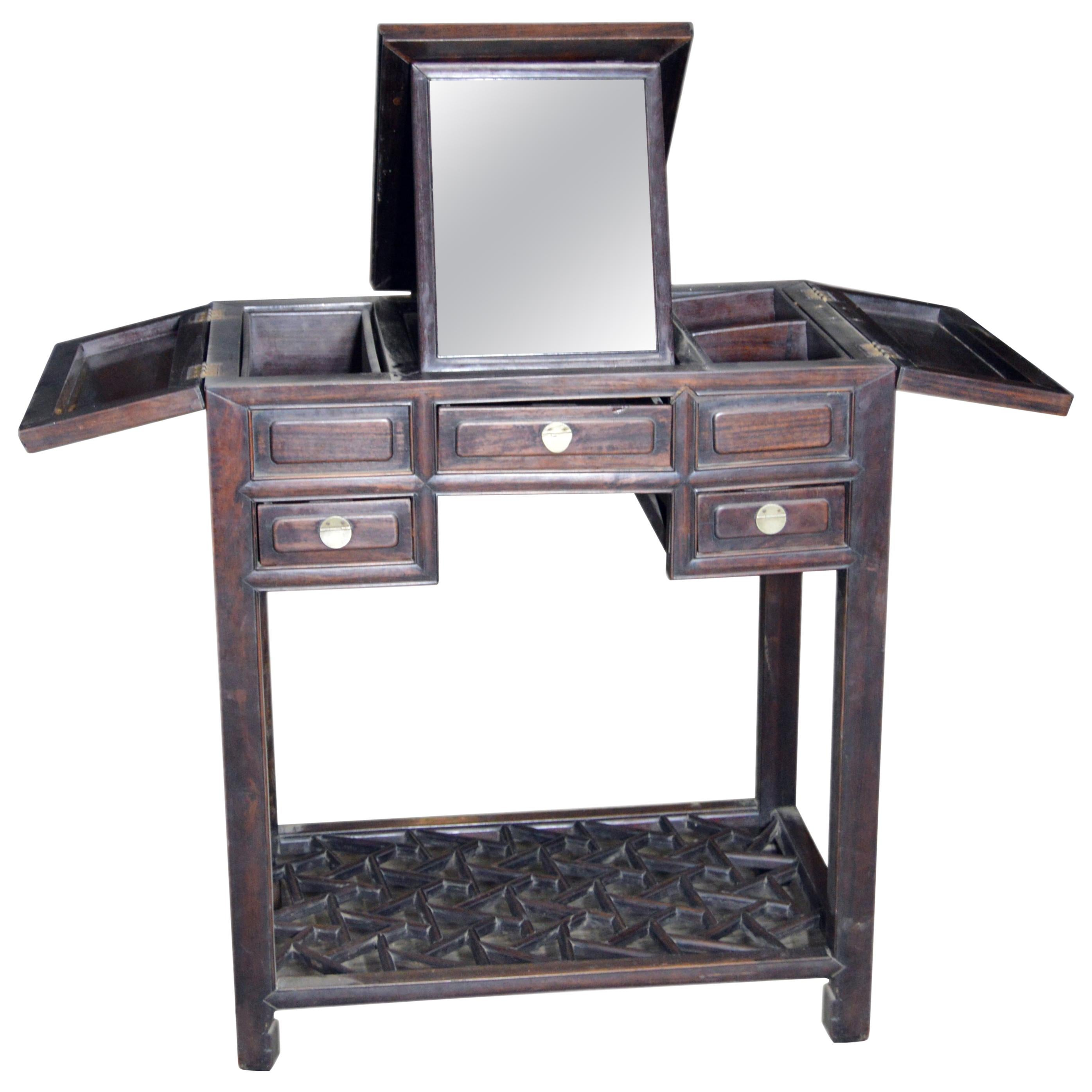 Chinese Vintage Dark Lacquered Wood Dressing Table With Mirror And Drawers
