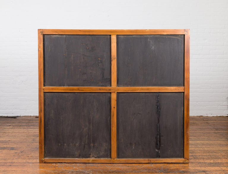 Chinese Vintage Display Cabinet with Paneled Glass Doors and Four Drawers For Sale 7
