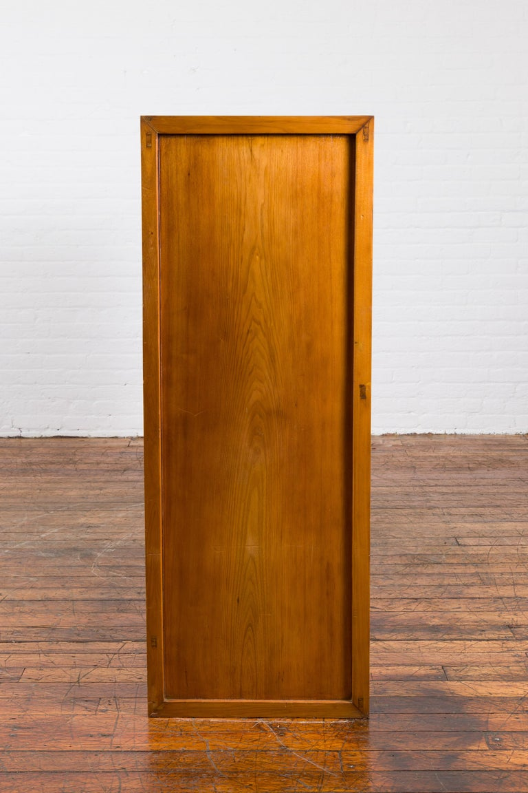 Chinese Vintage Display Cabinet with Paneled Glass Doors and Four Drawers For Sale 8