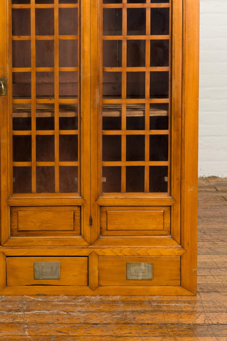 Chinese Vintage Display Cabinet with Paneled Glass Doors and Four Drawers For Sale 4