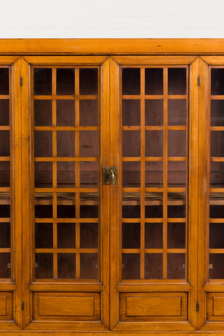 Chinese Vintage Display Cabinet with Paneled Glass Doors and Four Drawers For Sale 5